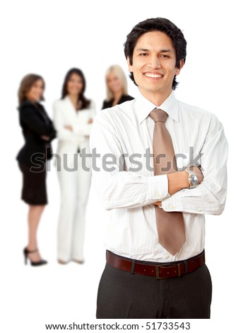 Friendly business man smiling with his team behind him isolated over a white background