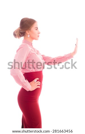 friendly business woman on an isolated background