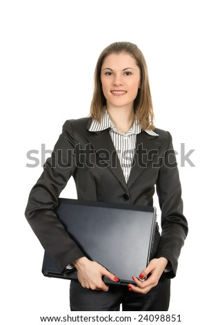 Friendly businesswoman with a laptop. Isolated on white