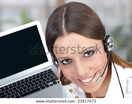 Friendly call service operator with charming smile. - stock photo