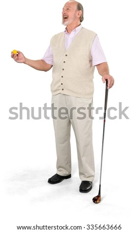 Friendly Caucasian elderly man with short grey hair in casual outfit holding prop - Isolated