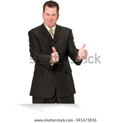 Friendly Caucasian elderly man with short medium brown hair in business formal outfit cheering - Isolated - stock photo
