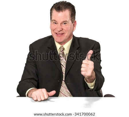 Friendly Caucasian elderly man with short medium brown hair in business formal outfit giving thumbs up - Isolated