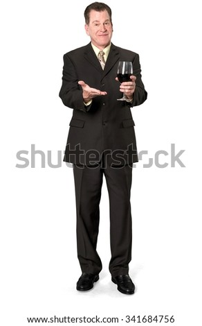Friendly Caucasian elderly man with short medium brown hair in business formal outfit holding wine glass - Isolated - stock photo