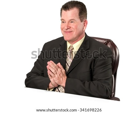 Friendly Caucasian elderly man with short medium brown hair in business formal outfit praying - Isolated