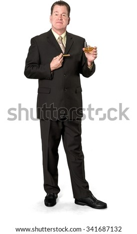 Friendly Caucasian elderly man with short medium brown hair in business formal outfit using cigar - Isolated