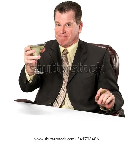 Friendly Caucasian elderly man with short medium brown hair in business formal outfit using martini glass - Isolated