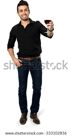 Friendly Caucasian man with short black hair in casual outfit holding wine glass - Isolated - stock photo
