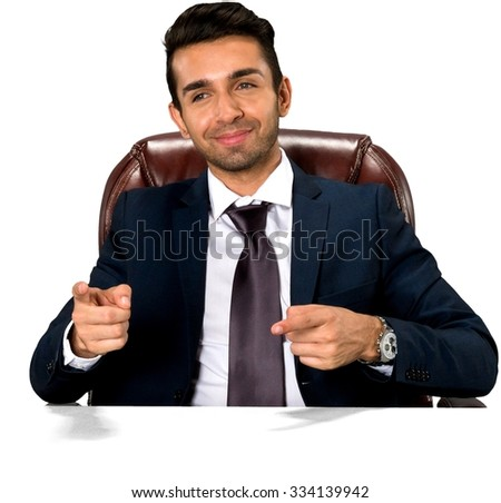 Friendly Caucasian man with short dark brown hair in business formal outfit pointing using finger - Isolated