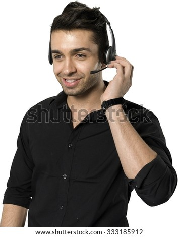 Friendly Caucasian man with short dark brown hair in casual outfit using headset - Isolated