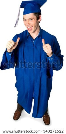 Friendly Caucasian man with short dark brown hair in uniform cheering - Isolated - stock photo