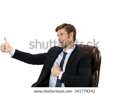 Friendly Caucasian man with short medium blond hair in business formal outfit cheering - Isolated - stock photo