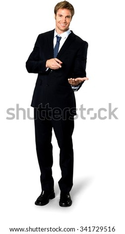 Friendly Caucasian man with short medium blond hair in business formal outfit holding invisible object - Isolated