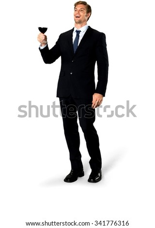 Friendly Caucasian man with short medium blond hair in business formal outfit holding wine glass - Isolated - stock photo