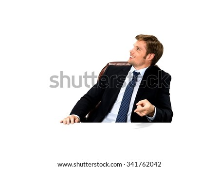 Friendly Caucasian man with short medium blond hair in business formal outfit leaning - Isolated