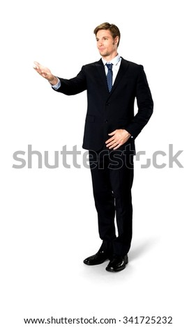 Friendly Caucasian man with short medium blond hair in business formal outfit pointing using palm - Isolated