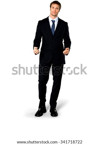 Friendly Caucasian man with short medium blond hair in business formal outfit talking with hands - Isolated