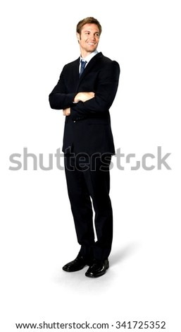 Friendly Caucasian man with short medium blond hair in business formal outfit with arms folded - Isolated