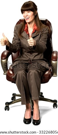 Friendly Caucasian woman with long dark brown hair in business formal outfit cheering - Isolated - stock photo