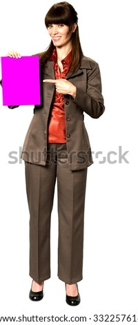 Friendly Caucasian woman with long dark brown hair in business formal outfit holding medium sign - Isolated
