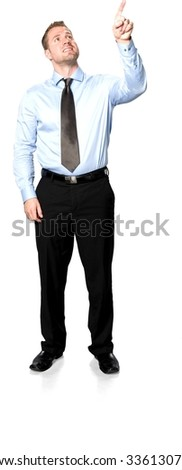Friendly Caucasian young man with short medium brown hair in business formal outfit pointing using finger - Isolated