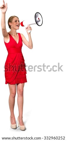Friendly Caucasian young woman with medium blond hair in evening outfit using megaphone - Isolated