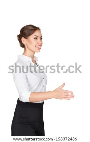 Friendly cheerful smiling business woman offer handshake isolated on white background - stock photo