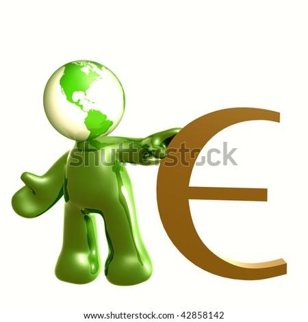 Friendly 3d icon with Euro money symbol - stock photo