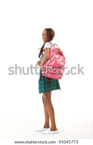 Friendly ethnic black woman high school student with backpack - stock photo