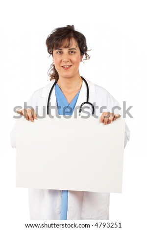 Friendly female doctor in lab coat, holding the blank placard - stock photo