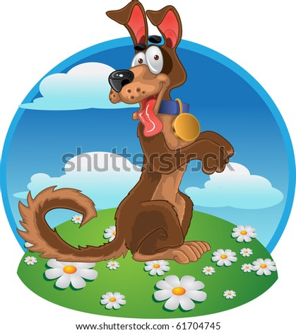 Friendly fun dog on bright color background  raster - stock photo