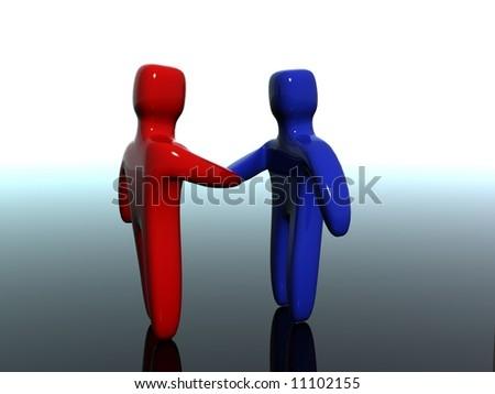 Friendly handshake cartoon - stock photo