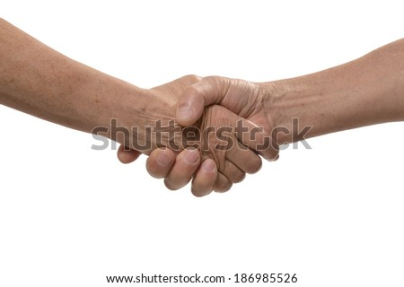 Friendly handshake isolated on a white background
