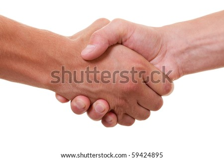 friendly handshake on white background - stock photo