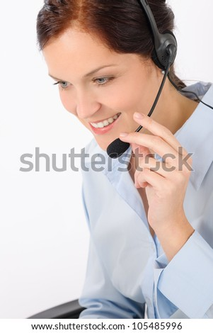 Friendly help desk woman smiling call center operator phone headset - stock photo