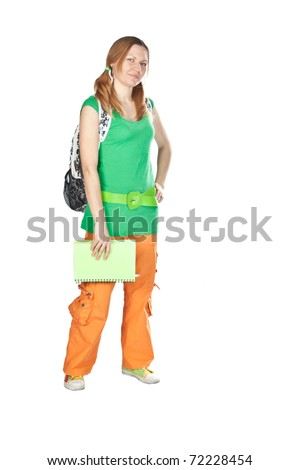 Friendly High school girl student standing with backpack and notebook isolated on white.