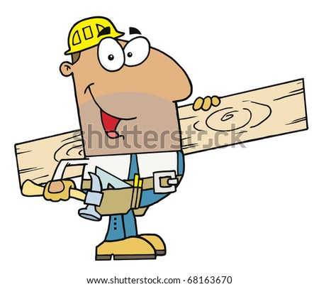 Friendly Hispanic Construction Worker Carrying A Wood Board - stock photo