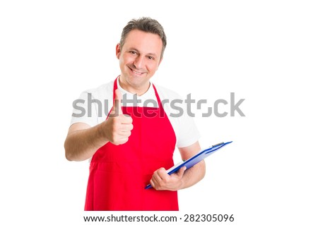 Friendly hypermarket employee holding clipboard and showing thumb up - stock photo