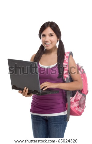 friendly Latina High school student schoolgirl with backpack, holding laptop computer