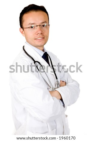 friendly male doctor over white