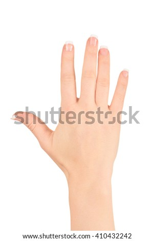 Friendly open hand isolated against white - stock photo