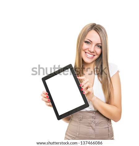 Friendly smiling businesswoman showing blank tablet screen - stock photo