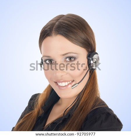 Friendly smiling customer operator with headset. - stock photo