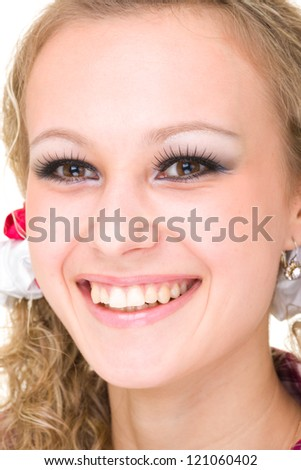 friendly smiling young woman portrait closeup studio shot - stock photo