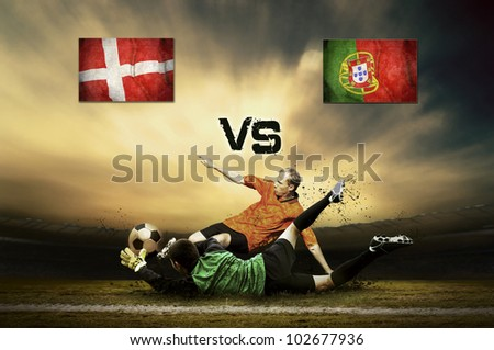 Friendly soccer match between Denmark and Portugal - stock photo
