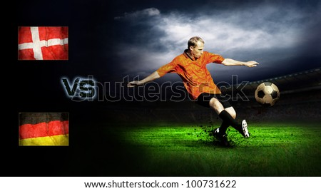 Friendly soccer match between Germany and Denmark - stock photo