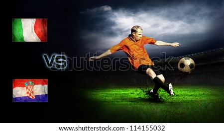 Friendly soccer match between Italia and Croatia - stock photo