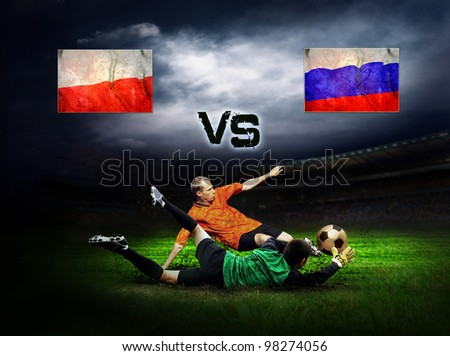 Friendly soccer match between Poland and Russia - stock photo