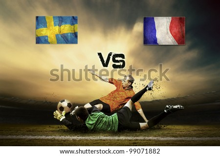 Friendly soccer match between Sweden and France - stock photo