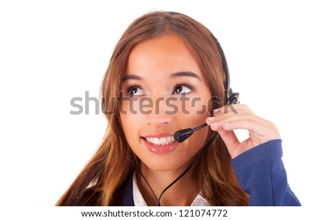 Friendly telephone operator, isolated over white background